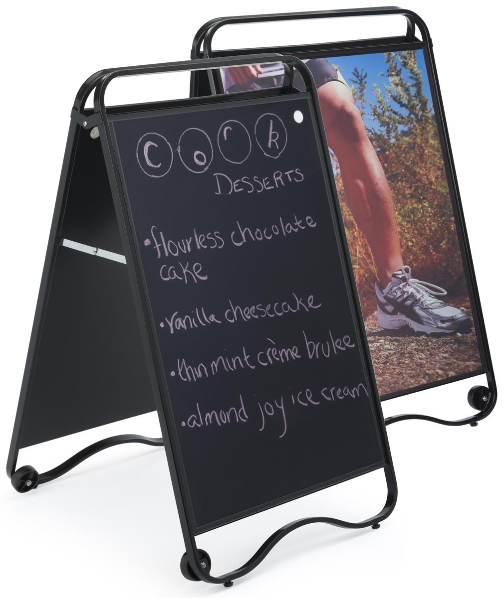24 X 36 Sidewalk Sign With Chalkboard Surface Magnetic Lens Double Sided Black