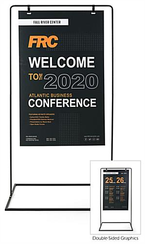Minimal hanging signage stand with full color double sided graphics