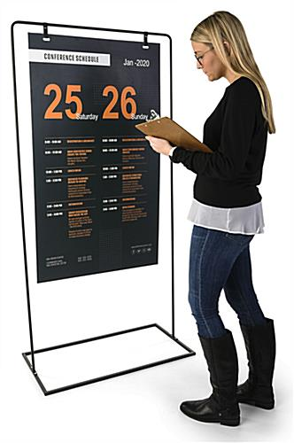 Minimal hanging signage stand with 68.5 inch height