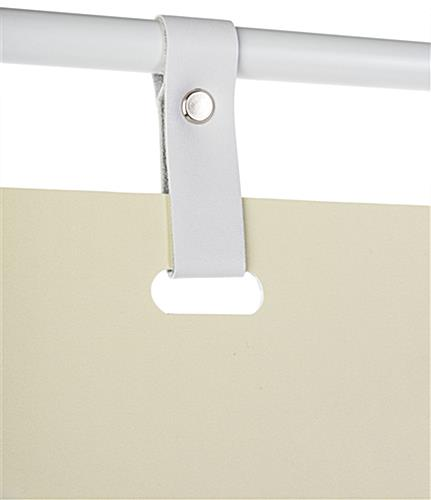 Minimalist white signage stand with modern faux leather hanging straps