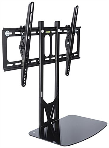 TV Wall Mount with Floating Glass Shelf, Black