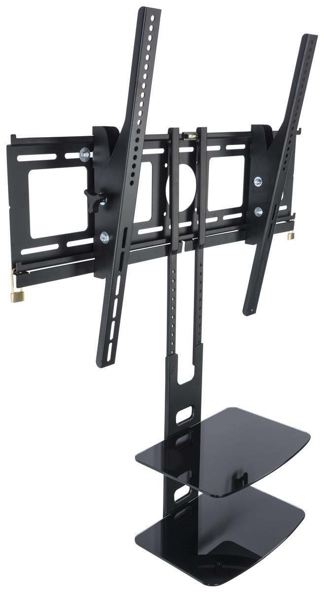 Tilting Tv Bracket With Double Tier Shelving Black Finish