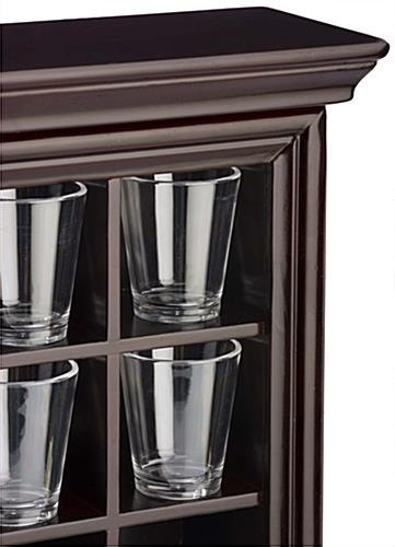 Shot Glass Cabinet Mahogany Wooden Countertop Or Wall