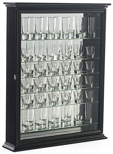 Display Case for Shot Glasses with Adjustable Shelves