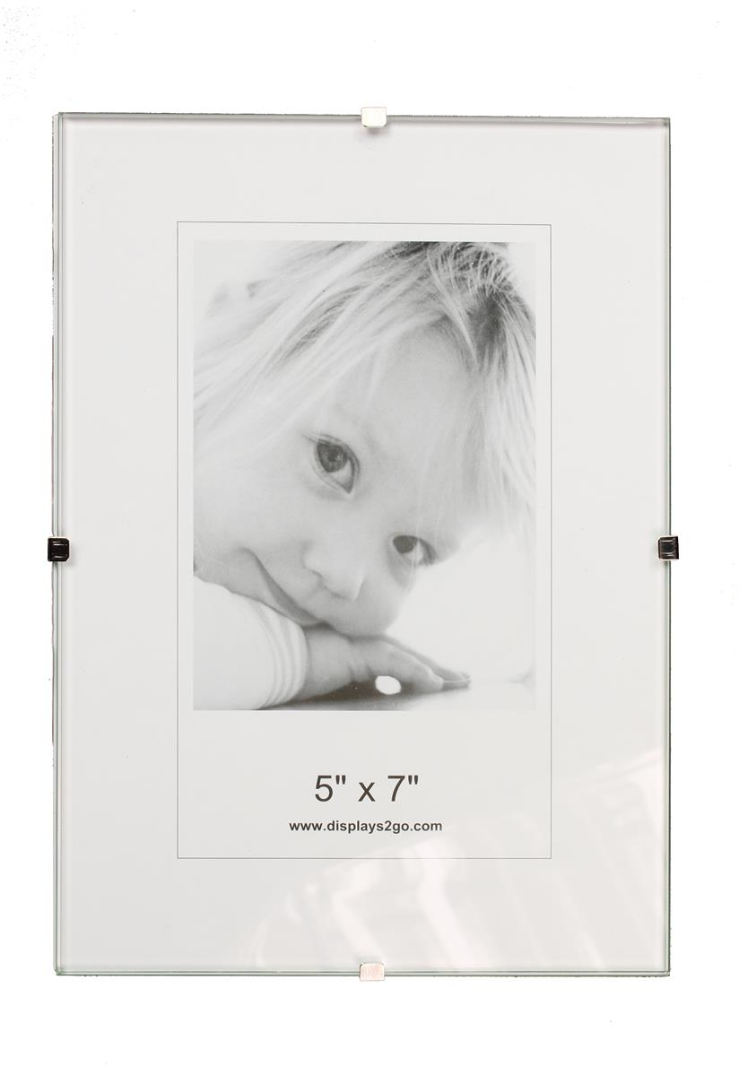 frameless 5 x 7 clip picture frame tempered glass