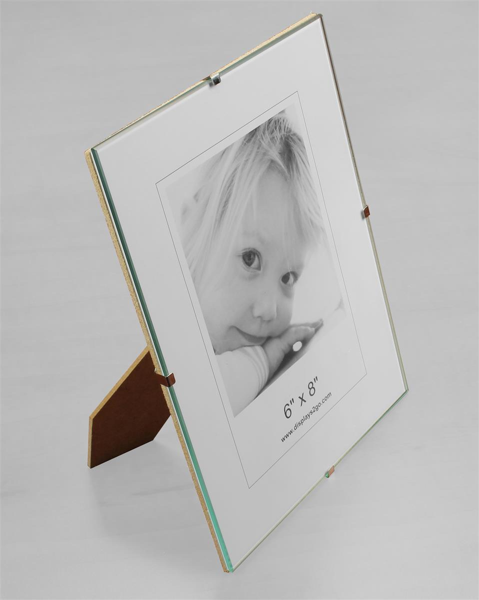 6 x 8 glass clip photo frame for tabletop or wall jeuxipadfo Image collections