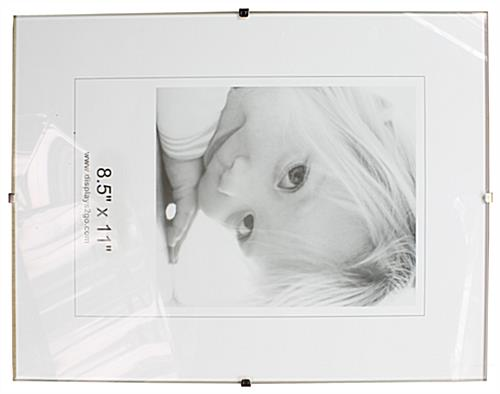 8 5 x 11 glass clip picture frames tempered glass