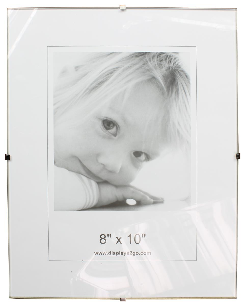 "8"" x 10"" Frameless Picture Frame for Wall, with Side Clips - Clear Glass"