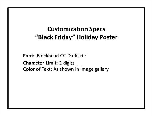 Store window black friday poster with custom spec limits