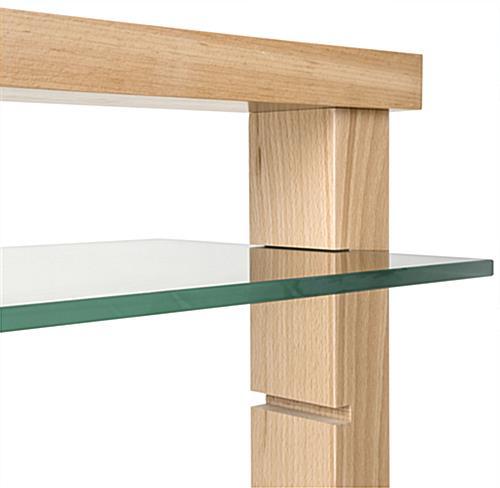 Wood Post Glass Shelf Gondola 16 Shelving Insert Slots