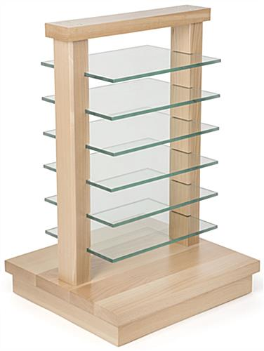 Wood Post Display Gondola with Tempered Glass Shelves