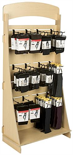 "Freestanding Slatwall Display with 10"" Black Hooks & Melamine Coating"