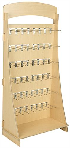 "Plywood Freestanding Slatwall Display with 8"" Chrome Hooks"