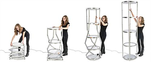 Pirouet portable collapsible showcase with flexible frame