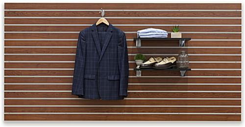 Cherry Finish Large Slotted Wall Board Panel with Professional Clothing Hanging and on Shelves
