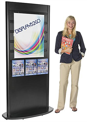 Laminated MDF Wood Slatwall Kiosk with Magazine Pockets