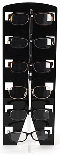 Acrylic countertop eyewear shelving with modern sleek design