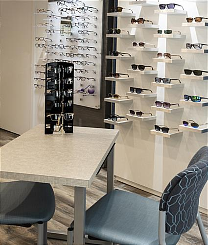 Acrylic countertop eyewear shelving with compact design