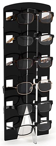Acrylic countertop eyewear shelving with 6 frame capacity