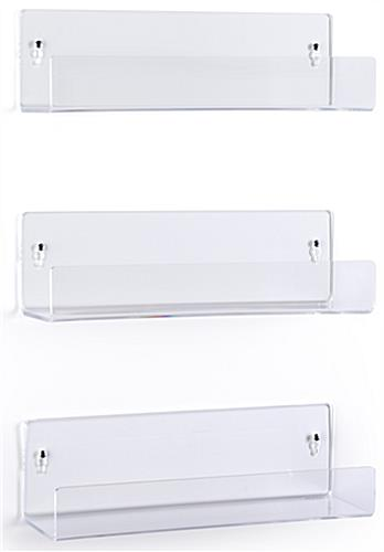 14 inch wide wall mounted acrylic shelves