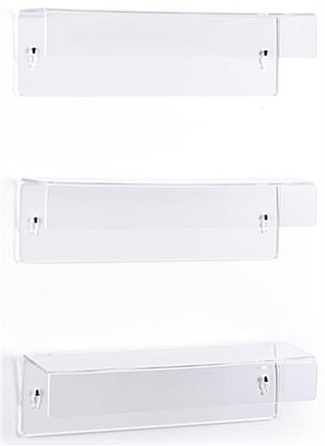 Wall mounted acrylic shelves with dual-sided keyhole cutouts