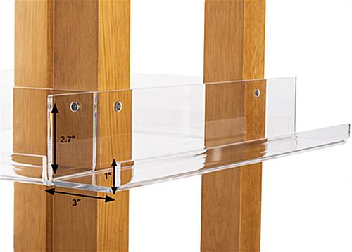 Revolving wood literature rack with three sixteenths inch thick acrylic shelves