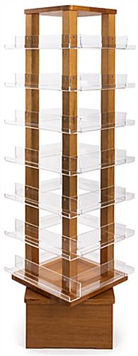 Revolving wood literature rack with 28 clear shelves