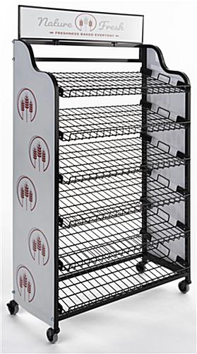 Bakery bread rack signage for BAKCRT6WBK with full bleed graphics