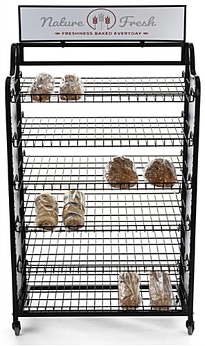 Bakery bread rack signage for BAKCRT6WBK with 33 x 7 header