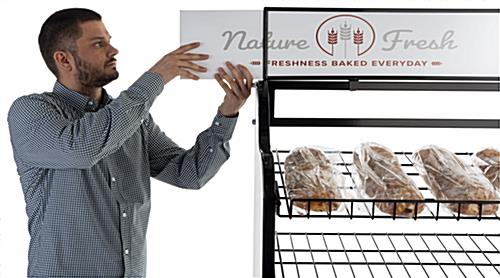 Bakery bread rack signage for BAKCRT6WBK with slide in header
