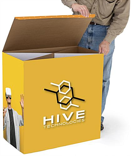 Printed cardboard platform riser with personalized UV printed graphics