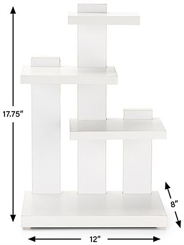 Countertop 3-tier merchandise display with scratch resistant rubber feet