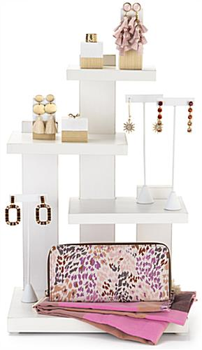 Countertop 3-tier merchandise display measures 12 inches wide by 17.75 inches tall
