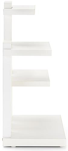 White countertop 3-tier merchandise display with matte finish