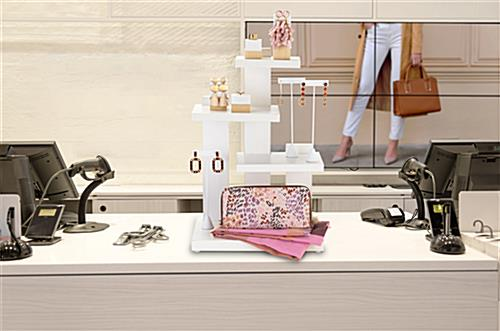 Countertop 3-tier merchandise display with asymmetrical design