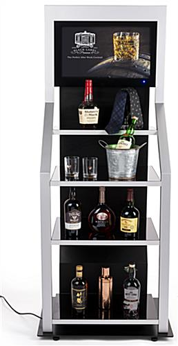 Digital merchandising retail shelving unit with four black tempered glass shelves