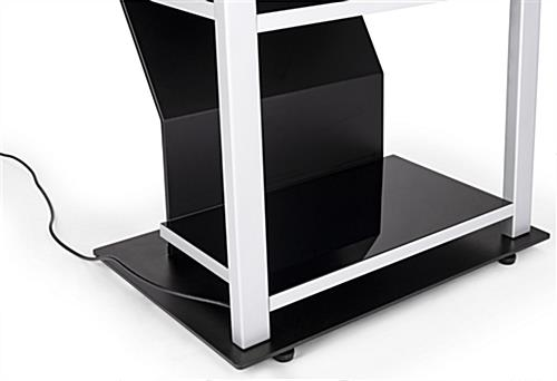 Digital merchandising retail shelving unit with rubberized foot levelers