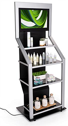 Digital merchandising retail shelving unit with 44 pound weight capacity per shelf