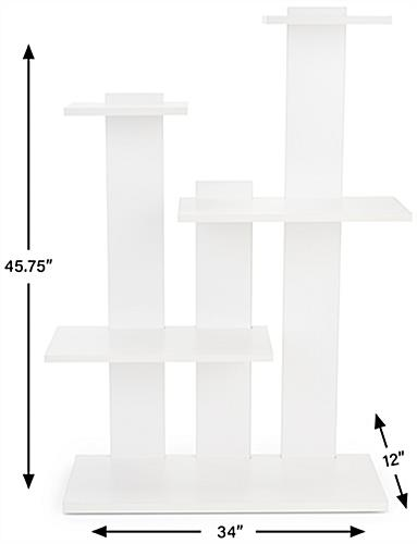 4-tier merchandise shelves with floor standing placement