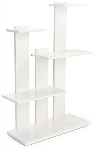 4-tier merchandise shelves with laminated white particle board build