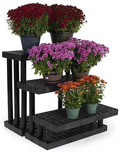 Heavy duty 3 tier outdoor display with polyethylene construction