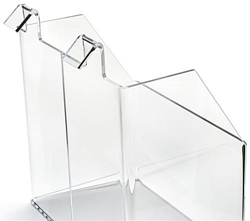 Display bin for gridwall with two mounting brackets