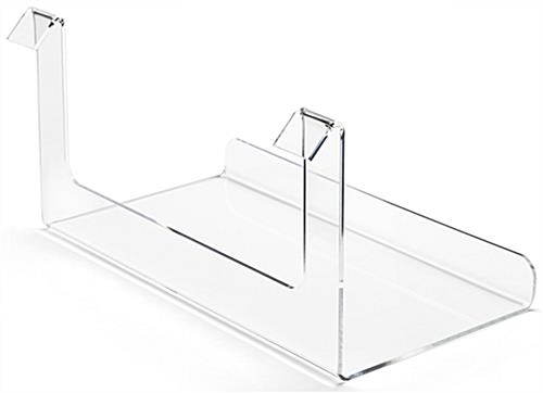 Acrylic gridwall display shelf features 2 mounting brackets