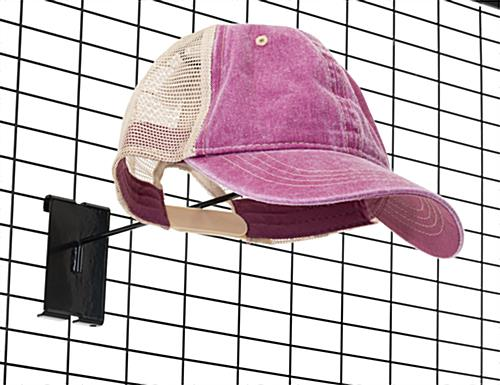 3 inch tall black gridwall hat rack with matte finish