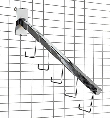 Steel gridwall waterfall hook in chrome finish