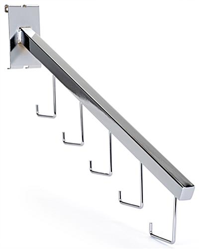 Gridwall waterfall hook with shiny chrome finish