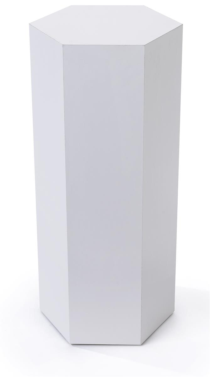 Hexagonal display pedestal made of durable laminated particleboard