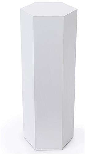 Hexagonal display pedestal with floor standing placement style