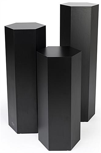 Hexagon retail pedestal with various size options