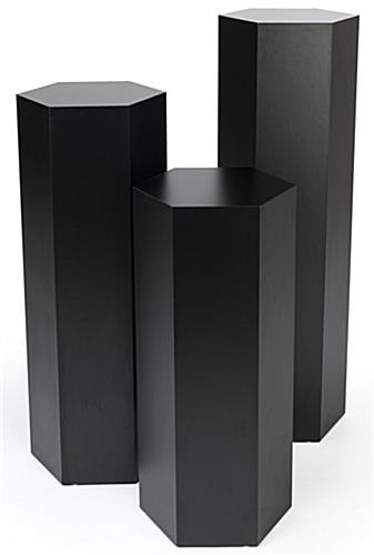 Hexagon museum plinth set with durable laminated black particle board design